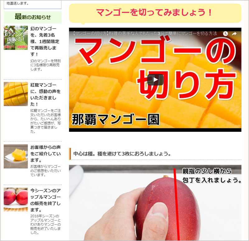 マンゴーの切り方を写真や動画で紹介