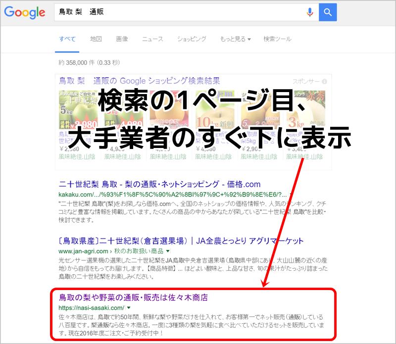 佐々木さんのホームページが検索1ページ目に